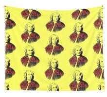 Johann Sebastian Bach vibrant portrait and text Wall Tapestry