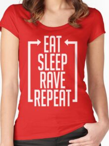 EAT SLEEP RAVE REPEAT (Centre Aligned) Women's Fitted Scoop T-Shirt