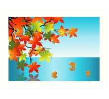 Autumn leaf reflection in water Art Print