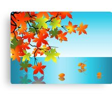 Autumn leaf reflection in water Canvas Print