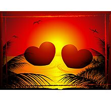 two hearts in sunset Photographic Print