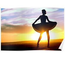 Girl and sunset Poster
