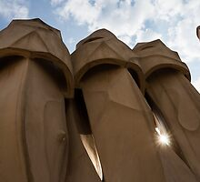 Whimsical Chimneys - Antoni Gaudi, La Pedrera, Barcelona, Spain by Georgia Mizuleva