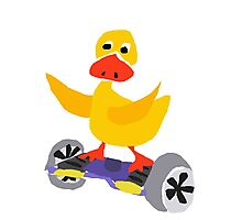 Cool Funny Yellow Duck on Hoverboard Skateboard Photographic Print