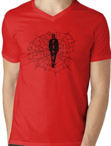 A spider at the center of a web Mens V-Neck T-Shirt