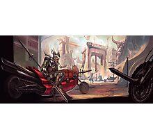 Comic Motorcycle City Photographic Print