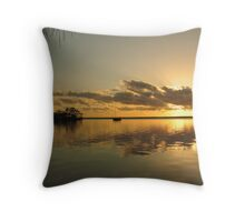Golden sunrise with boat. Throw Pillow