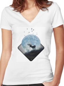 moon shadow Women's Fitted V-Neck T-Shirt