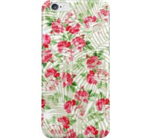 Vintage pink roses tropical palm tree pattern  iPhone Case/Skin