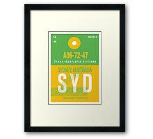 SYD Baggage Tag Framed Print