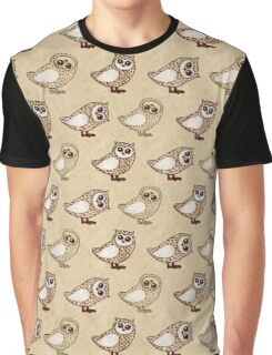Series of owls with crayons on craft paper Graphic T-Shirt