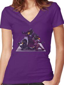 Samurai Ninja Penguin Team Women's Fitted V-Neck T-Shirt