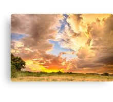 Looking Through The Colorful Sunset to Blue Canvas Print