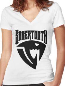 Sabertooth (Black) Women's Fitted V-Neck T-Shirt