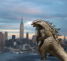 Godzilla Comes To NYC   by david michael  schmidt