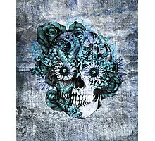 Blue grunge ohm skull.  Photographic Print