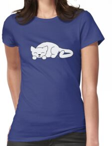 Sleeping Cat Womens Fitted T-Shirt