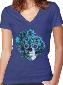 Blue grunge ohm skull.  Women's Fitted V-Neck T-Shirt