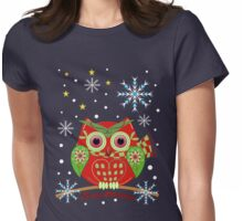 Cute Christmas Owl and Text Tee Womens Fitted T-Shirt