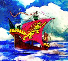 A digital painting of a 13th century English Fighting Ship - The Cog by Dennis Melling