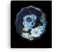 Blue day of dead girl Canvas Print