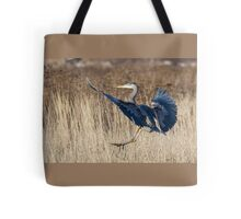 Great Blue Heron Landing Tote Bag