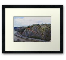 A lovely combo of Valley, road, Cliff and sky Framed Print