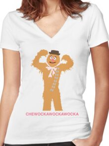CHEWOCKAWOCKAWOCKA Women's Fitted V-Neck T-Shirt