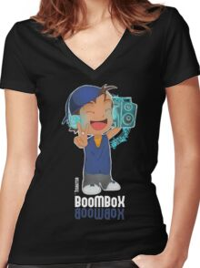 BoomBox, Music, Bass, Musical, HipHop, Beats, DJ  Women's Fitted V-Neck T-Shirt