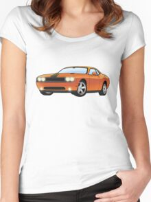 The orange dodge challenger Women's Fitted Scoop T-Shirt
