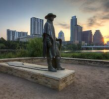 Texas Images - Stevie Ray Vaughan Statue and the Austin Skyline at Sunrise by RobGreebonPhoto