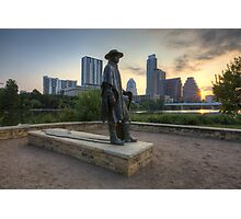 Texas Images - Stevie Ray Vaughan Statue and the Austin Skyline at Sunrise Photographic Print