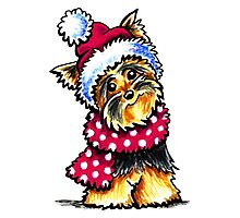 Yorkie Happy Winter Hat & Scarf Photographic Print