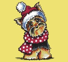 Yorkie Happy Winter Hat & Scarf by offleashart