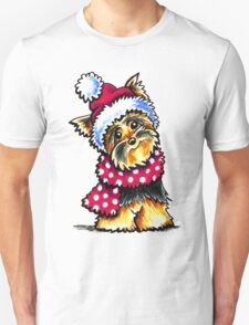 Yorkie Happy Winter Hat & Scarf Unisex T-Shirt