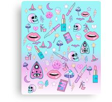 Girly Pastel Witch Goth Pattern Canvas Print