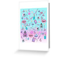 Girly Pastel Witch Goth Pattern Greeting Card