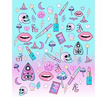 Girly Pastel Witch Goth Pattern Photographic Print