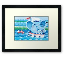 Sailor - Rondy the Elephant on a boat Framed Print