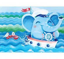 Sailor - Rondy the Elephant on a boat Photographic Print