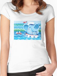 Sailor - Rondy the Elephant on a boat Women's Fitted Scoop T-Shirt