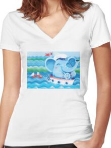 Sailor - Rondy the Elephant on a boat Women's Fitted V-Neck T-Shirt