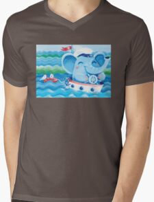 Sailor - Rondy the Elephant on a boat Mens V-Neck T-Shirt