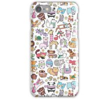 Winter Animals with Scarves Doodle iPhone Case/Skin