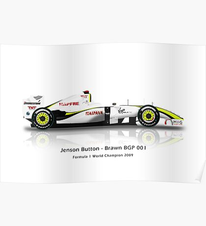 Jenson Button - Brawn BGP001 - Brazil Poster
