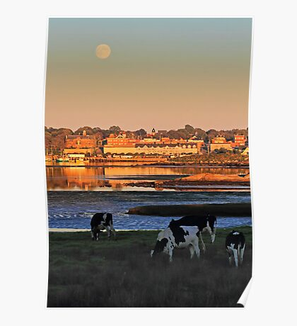 The Waterfront, The Moon, and The Cows in Yarmouth Poster