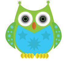 Star Owl - Green Blue by Adamzworld