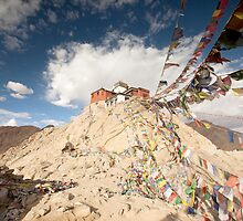 Tibetan Buddhist prayer flags in Leh by Travelographer