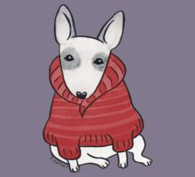 English Bull Terrier Wearing Red Chunky Knit Kids Tee