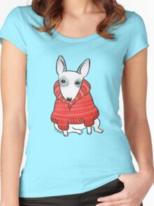 English Bull Terrier Wearing Red Chunky Knit Women's Fitted Scoop T-Shirt